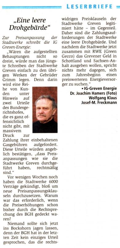 Leserbrief Grevener Zeitung 30.10.2009